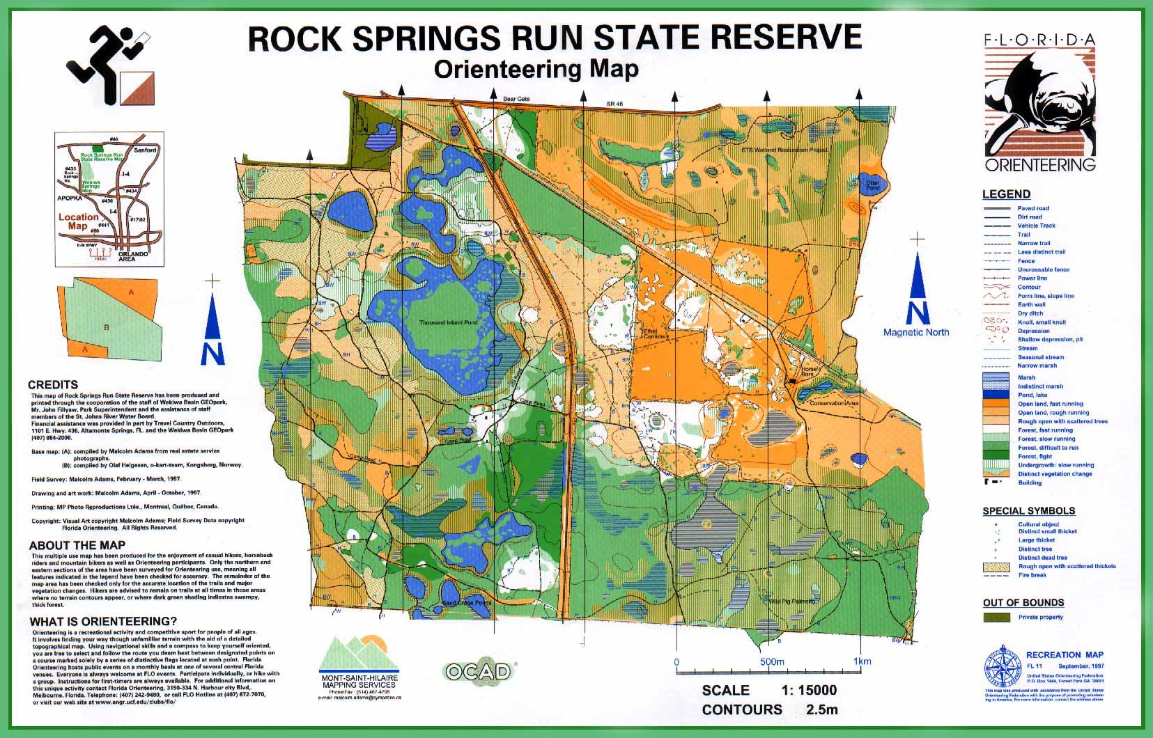 Map Of Springs In Florida.Florida Orienteering